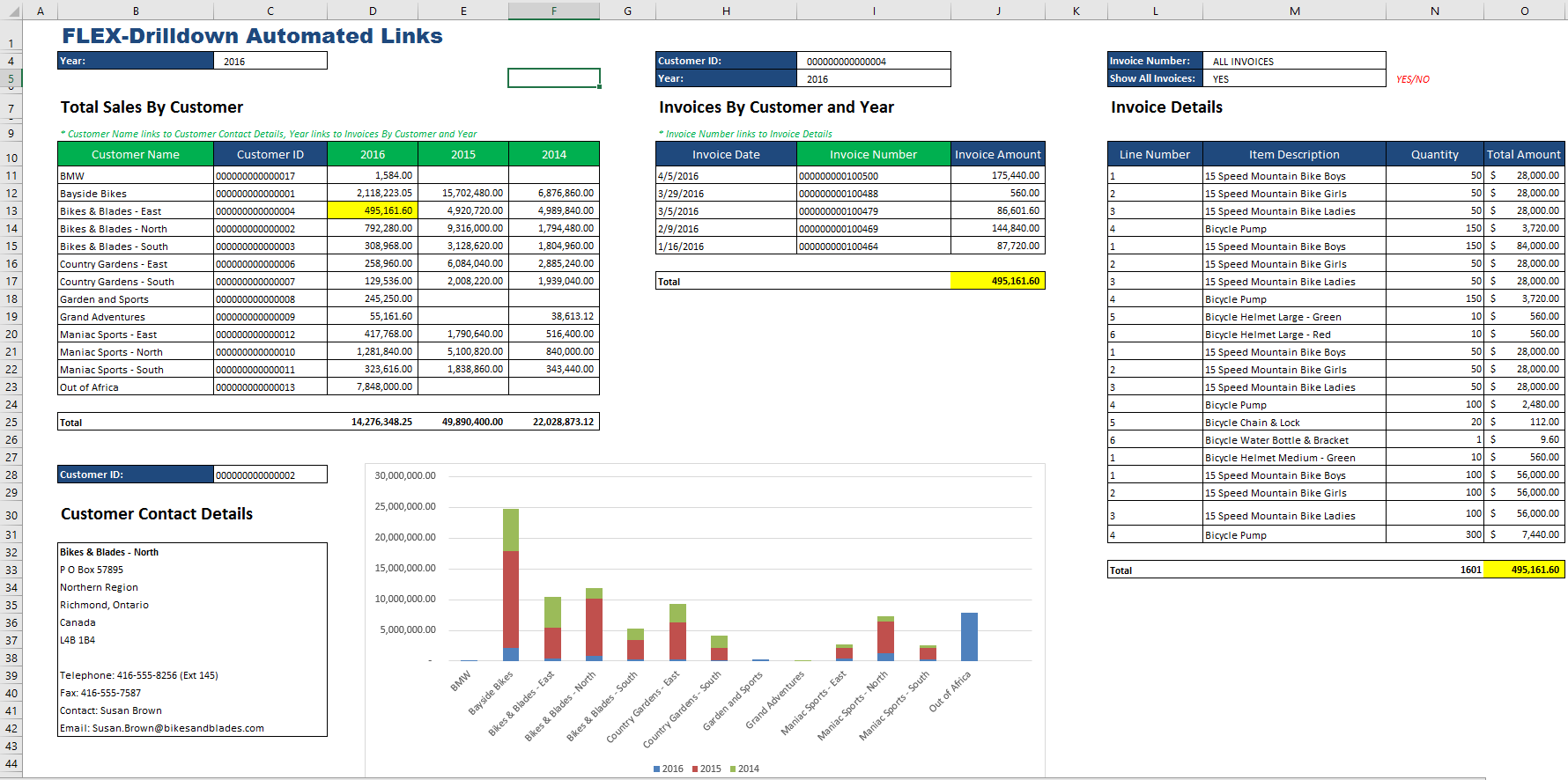 Formatted Vivid Flex Report in Microsoft Excel